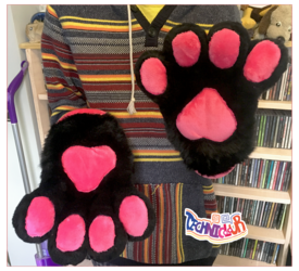 Black Fursuit Handpaws With Hot Pink Pawpads