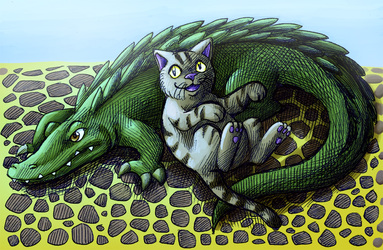 Croc and cat