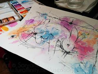 Bunny - Watercolor Splatter