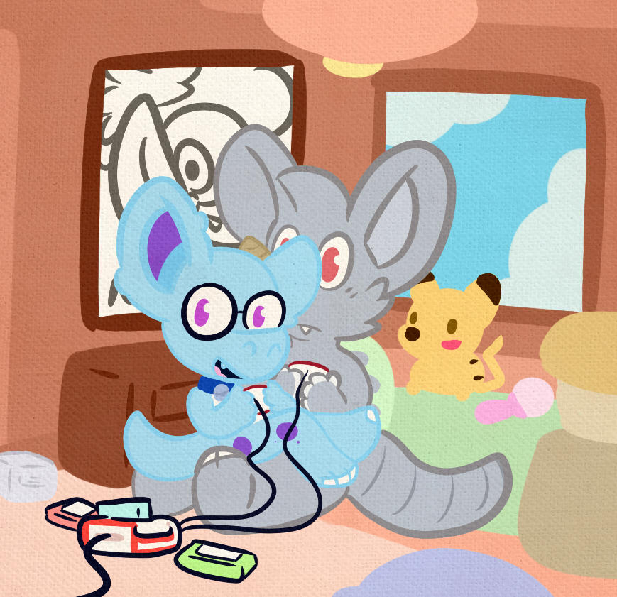 (Commission) A Bunny shows a Rhydon on Co-Op playing.