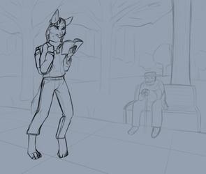 College stilt-dog