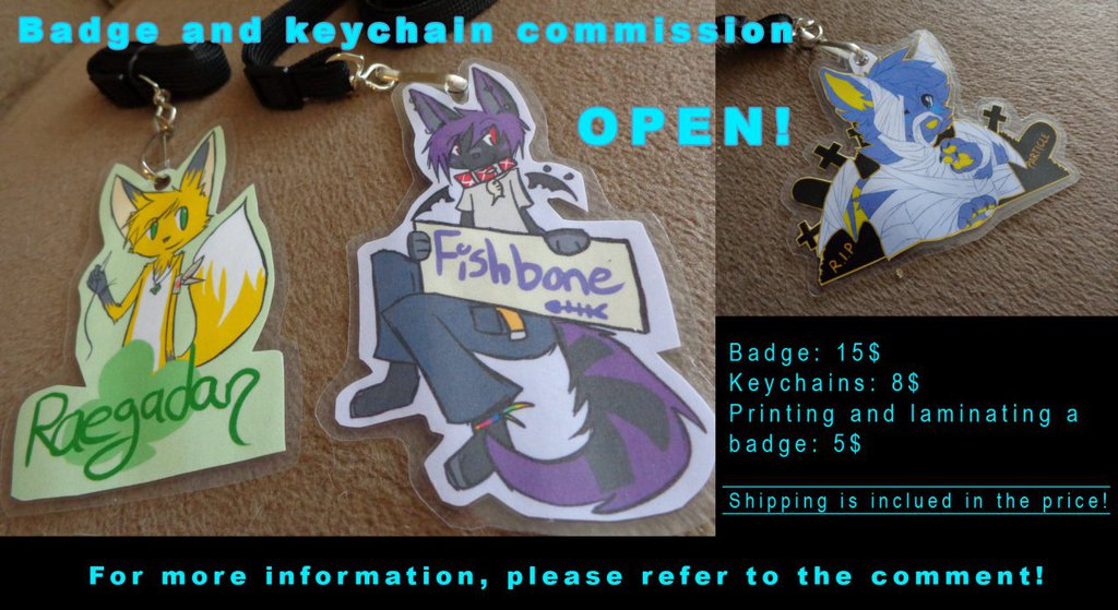 Badge and Keychains commission OPEN!
