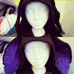 Crochet black rabbit hood