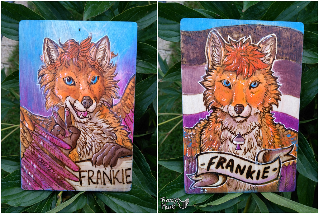 Frankie's badge-pyrography