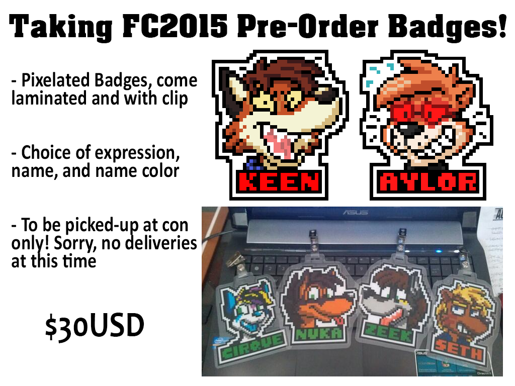 Most recent image: Taking Badge commissions for FC2015!