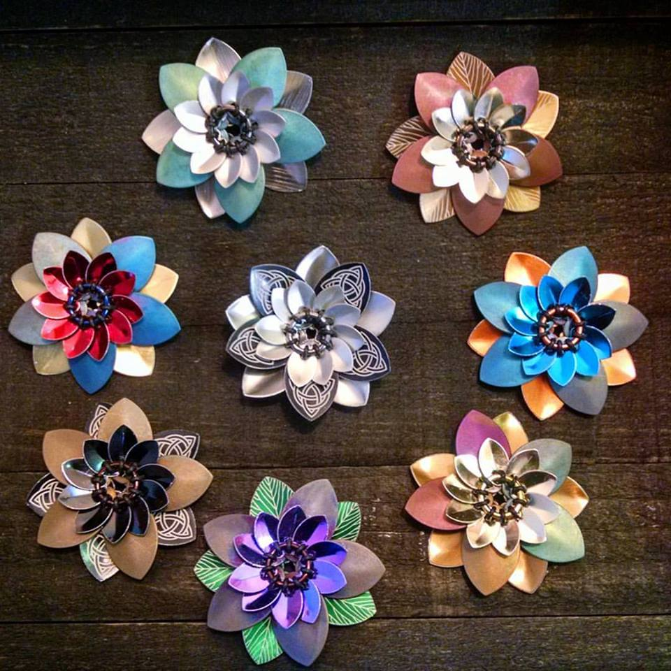 Titanium and Laser Etched Scale Flowers