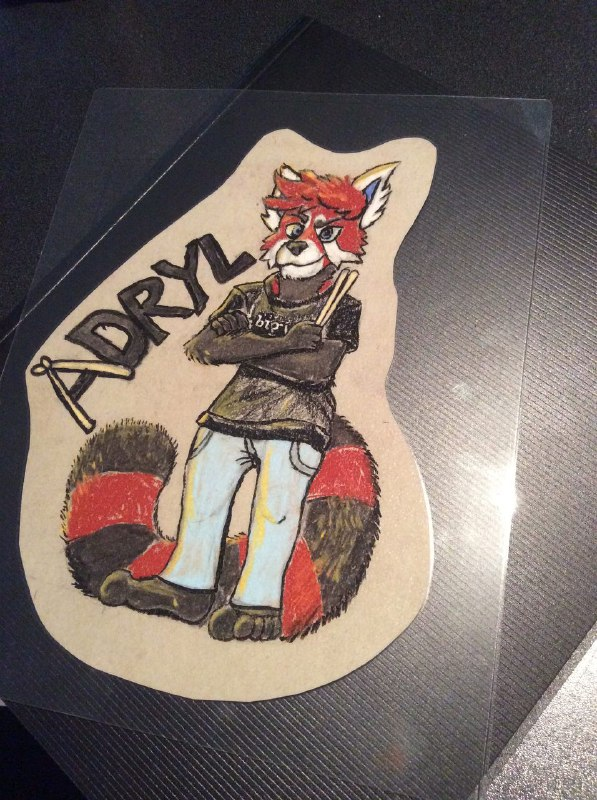 Adryl red panda drummer pastel badge