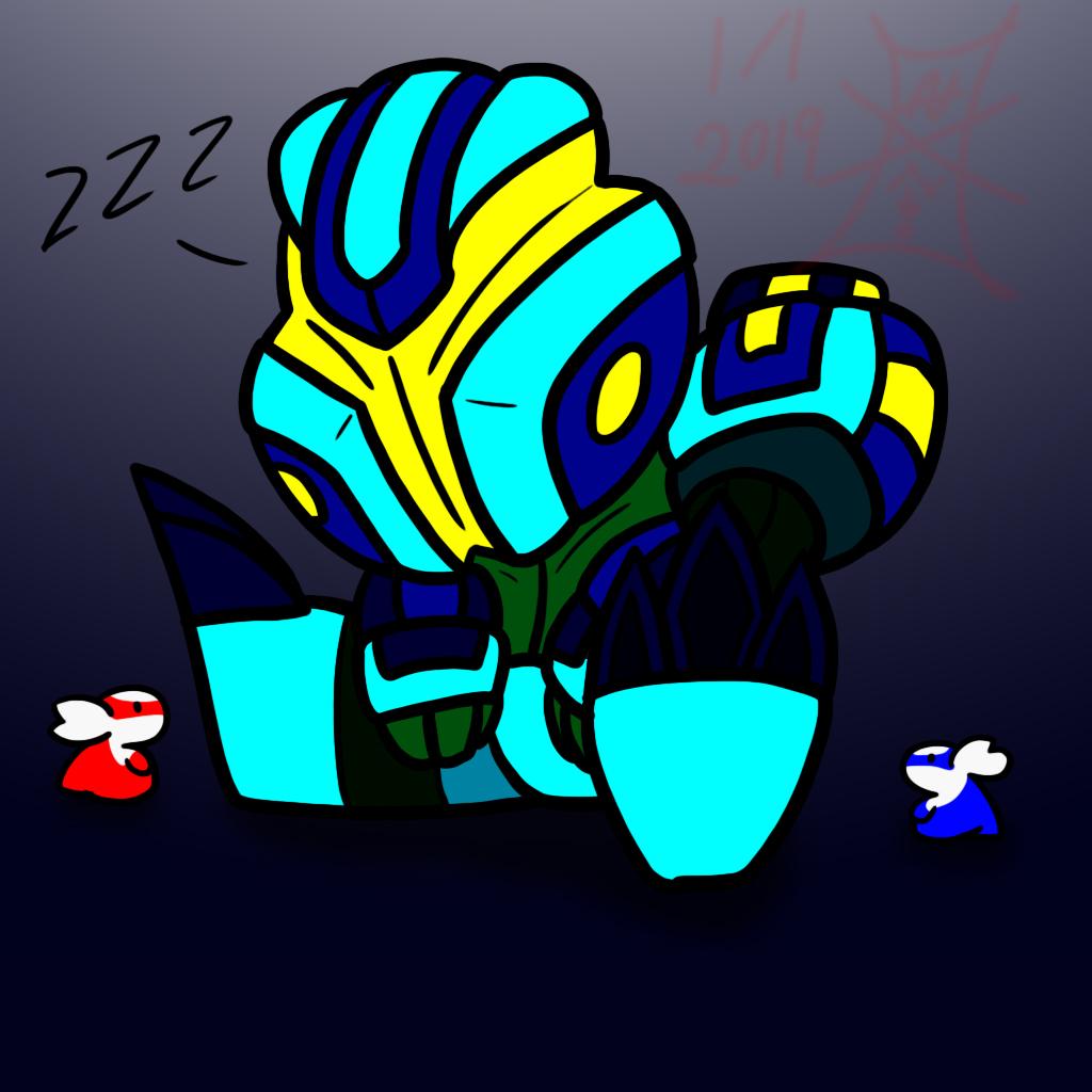 electric bot sleeping and two latis blinking