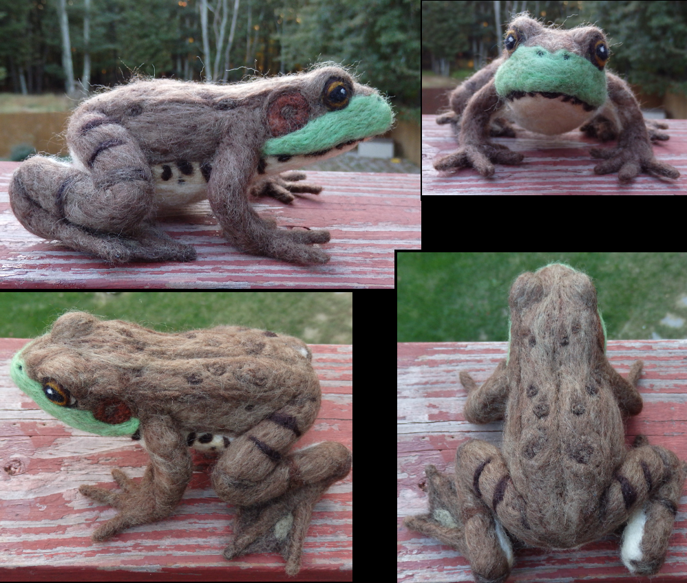 Needle Felted Green Frog Soft Sculpture