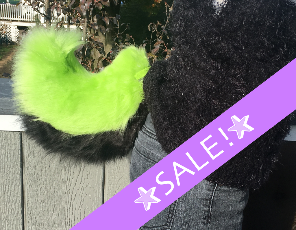 (FOR SALE) Green and Black Fursuit Nub Tail