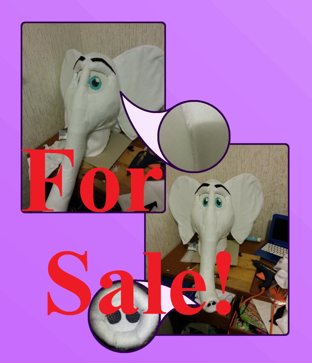 FOR SALE: White Elephant Fursuit Head