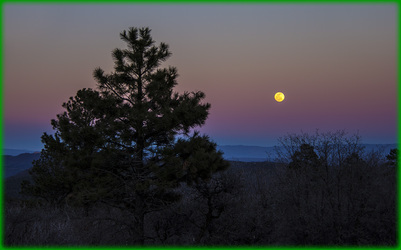 Sunset with Full Moon over San Juan National Forest Colorado