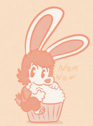 An Oranging RabbitShakeJake and a big cupcake.