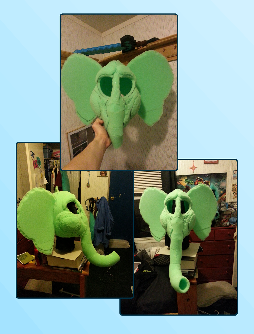 White Elephant Fursuit Head WIP - Finished Base!