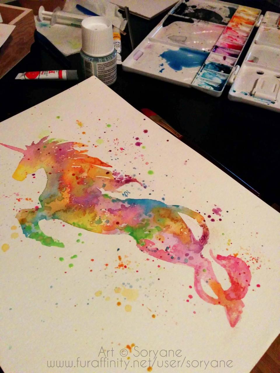 Unicorn - Watercolor Splatter