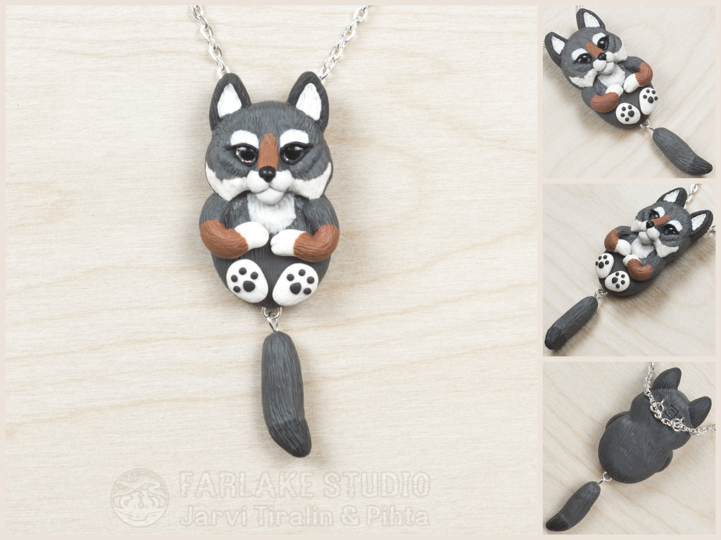 Chibi gray wolf full body pendant - for sale