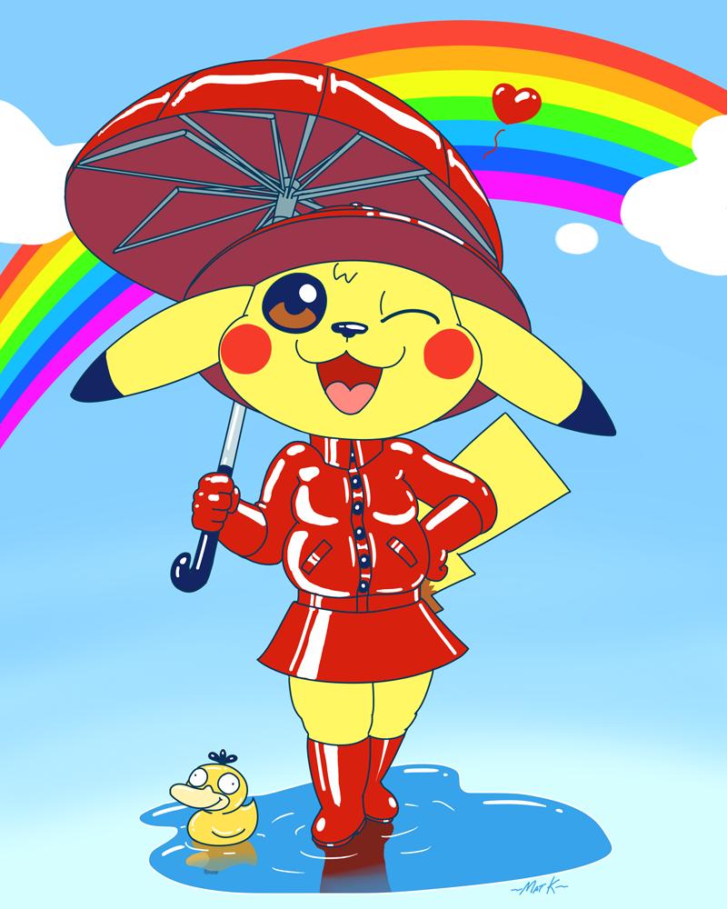Pikachu's red raincoat