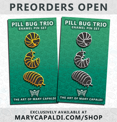 Pill Bug Trio Enamel Pin Set