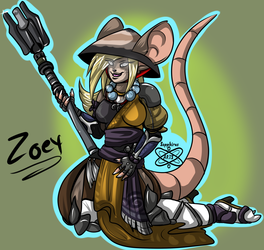 Zoey Warrior +Cell shade Character commission+