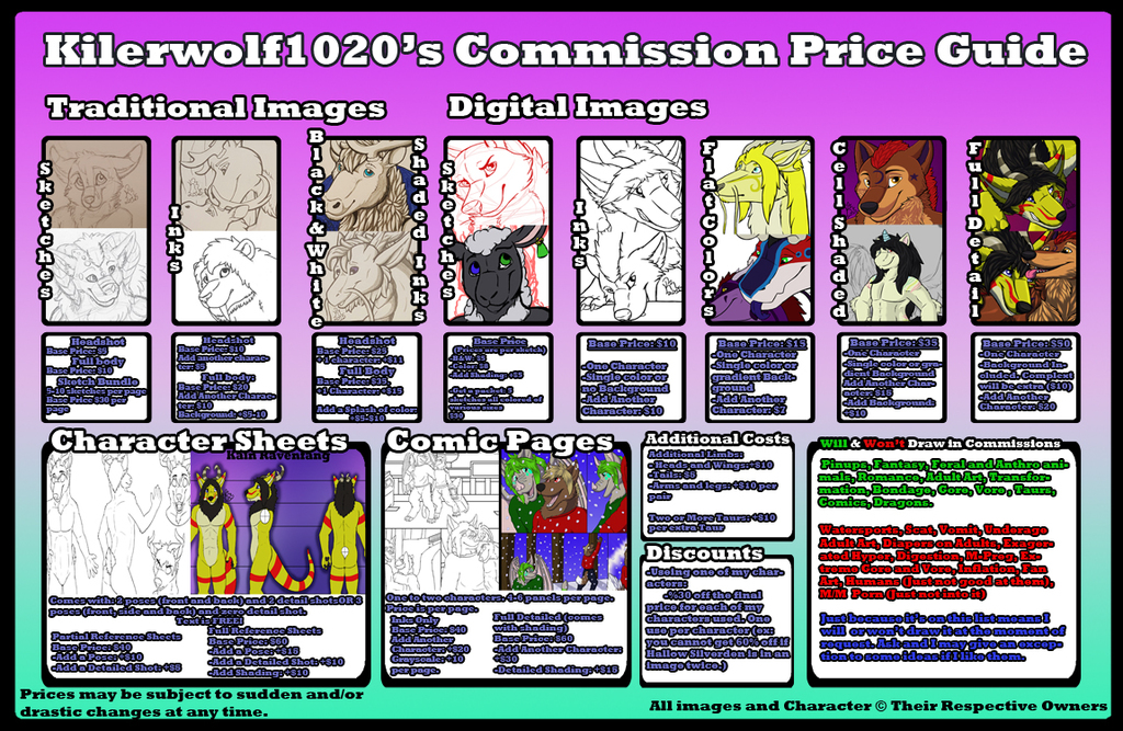 2016 Commission Price Guide