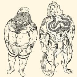 Caveman + Dinosaur Sketch