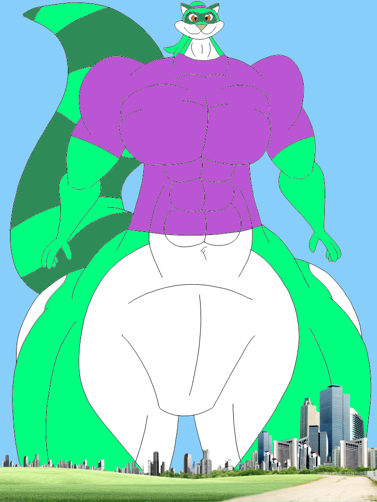 Lynca the jolly green giant raccoon