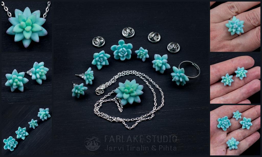 Succulents jewelry set