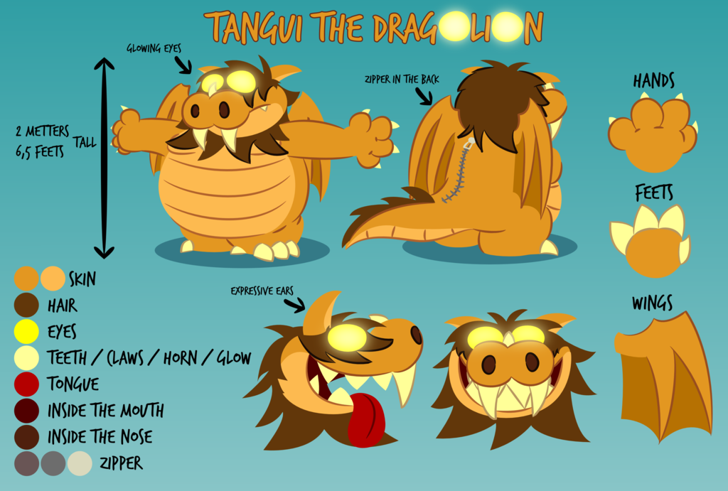Tangui the dragonlion reference sheet