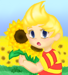 Lucas and Sunflowers