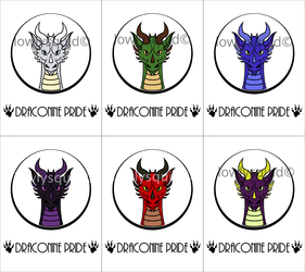 Colored Species Pride Badges: Draconine