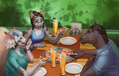 Lauren's day - 10 - Pizza with friends