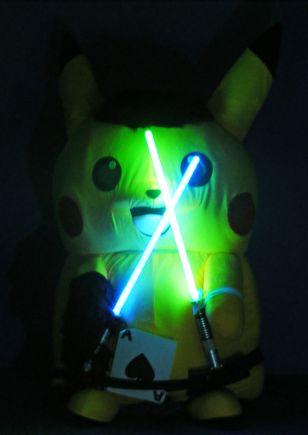 Ace Spade the Pikachu (Mascot Suit) Duel-Wielding Lightsabers in the Dark