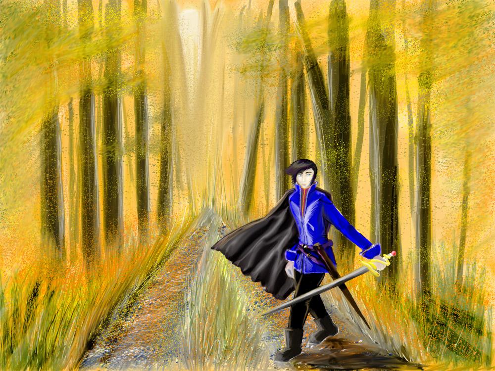 David in Autumn Forest