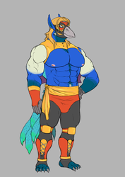 Old Art: Peacock Gryphon Luchadore