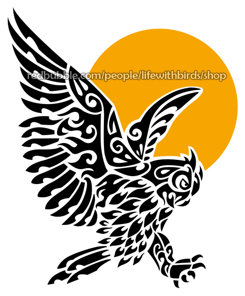 Great horned owl tribal tattoo