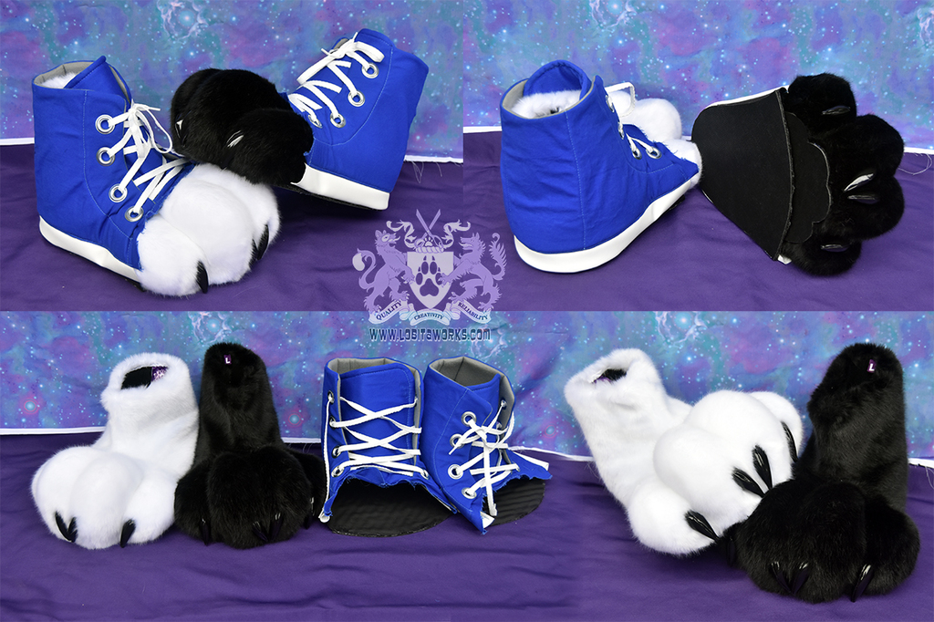 Black/White Feet Paws with Sneakers