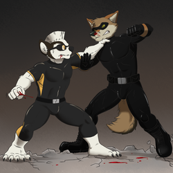 Coyote vs Badger [Commission - Fight!]