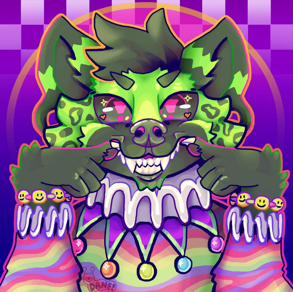 Digital Clown Hyena Headshot