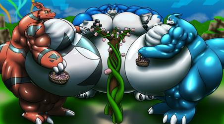 Musclegut Digimon Collecting Marshmallows