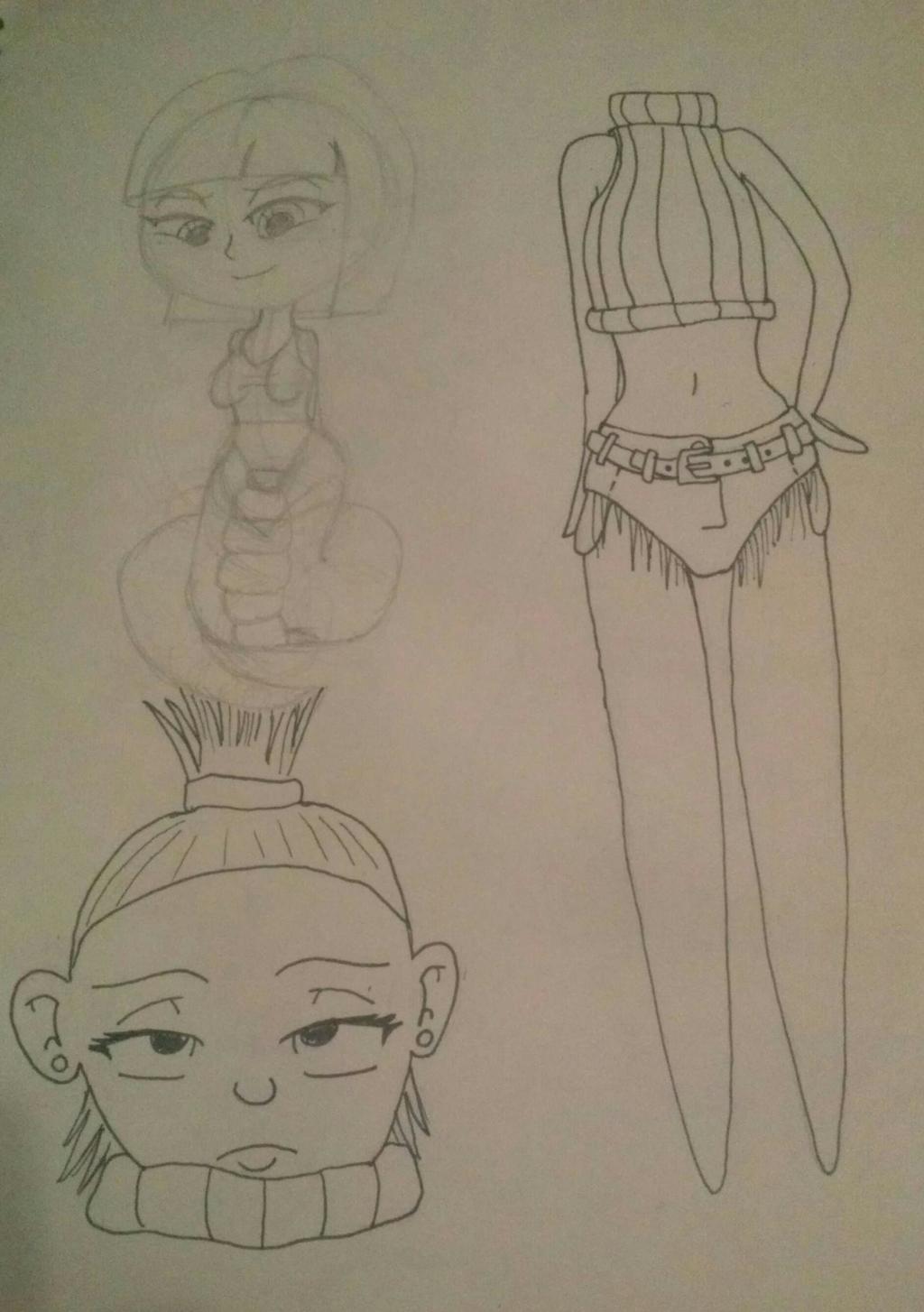Dullahan Ink and Lamia Sketch