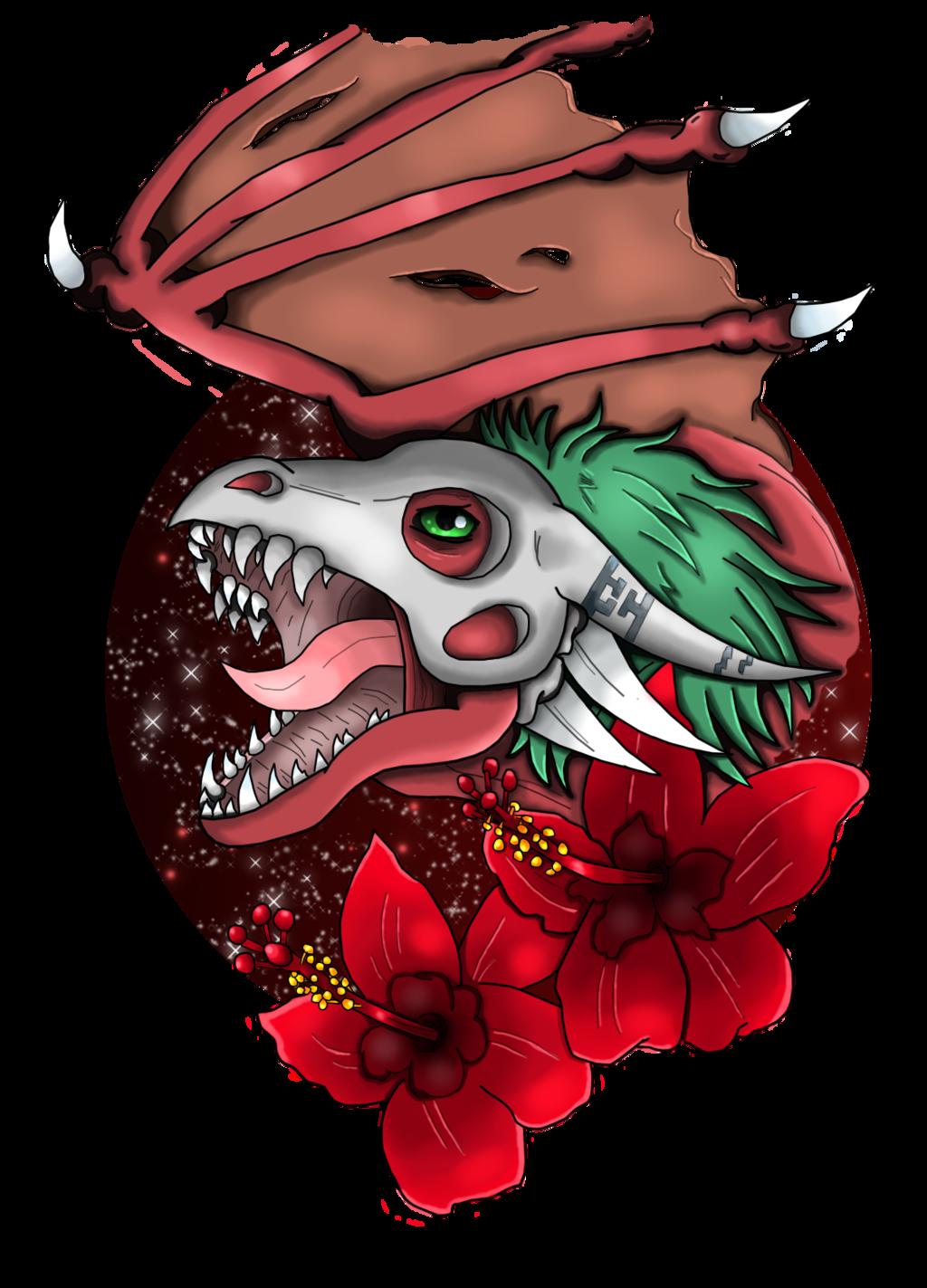 Wyvermon with hibiscus