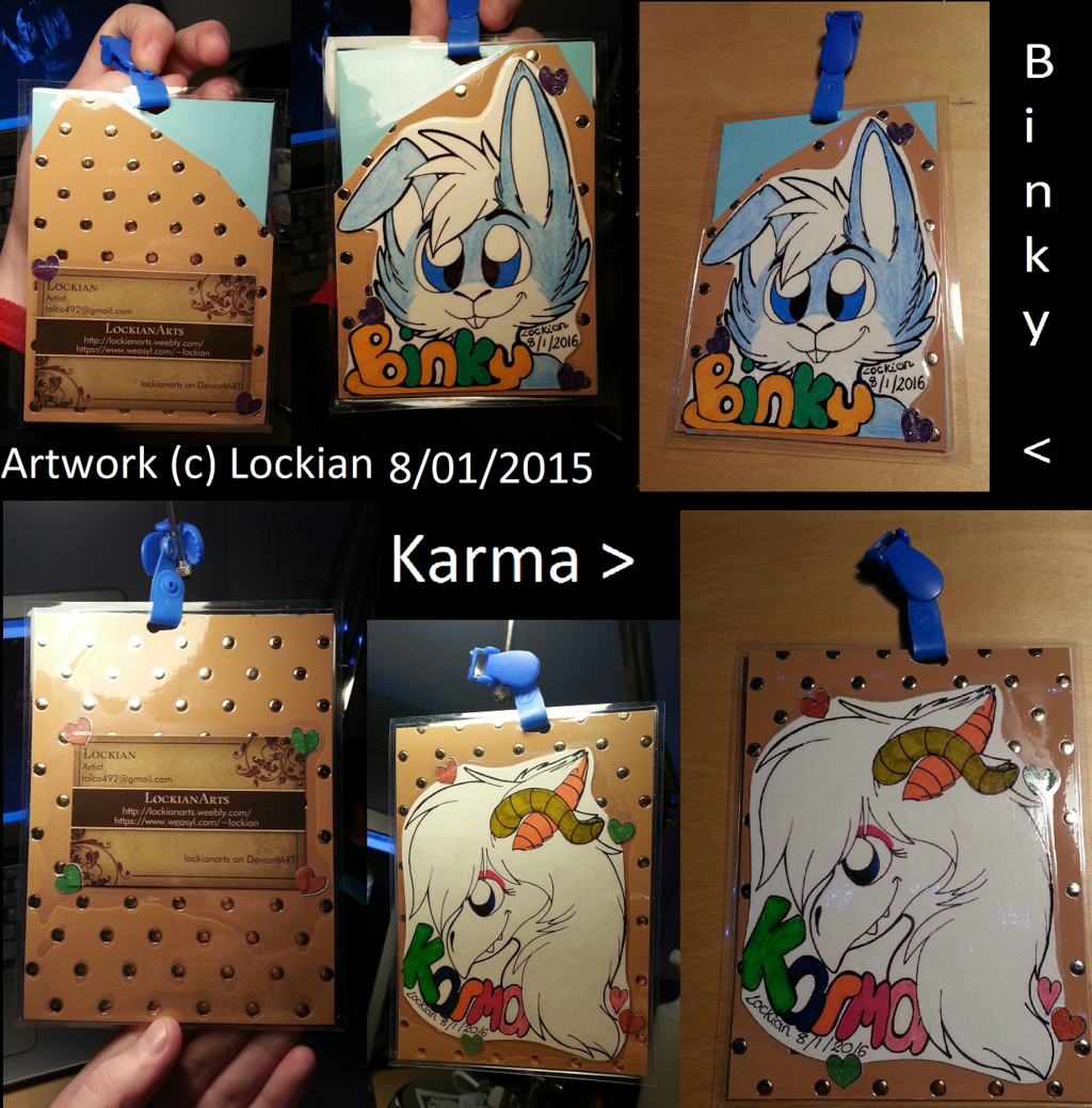 Heashot badges for Binky / Karma
