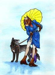 In the Rain ~ Watercolor