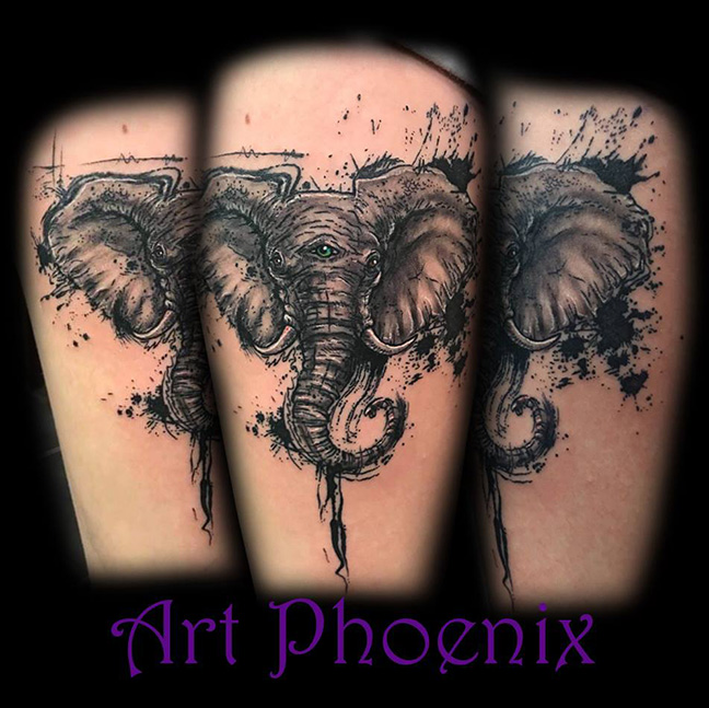 Inky Elephant with 3rd Eye Thigh Tattoo