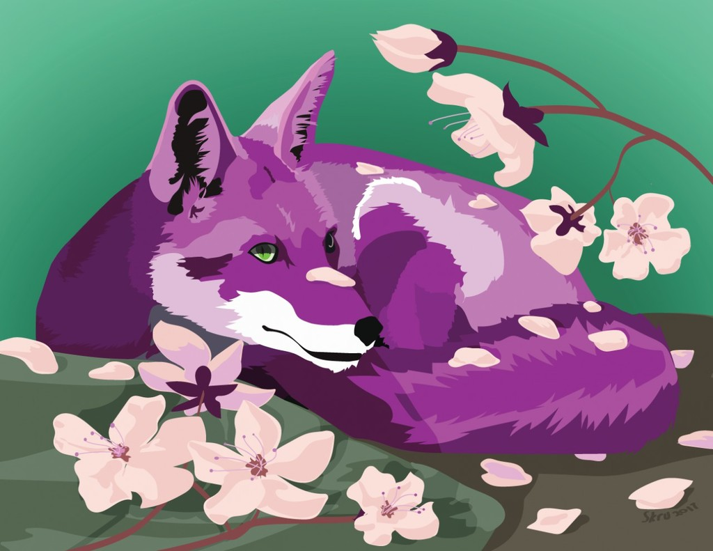 Lavender Fox and Blossoms