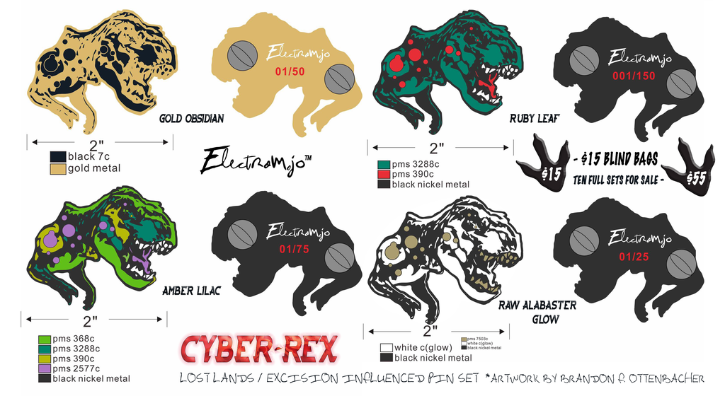 """Cyber-Rex"" Lost Lands / Excision Inspired Pin Set"