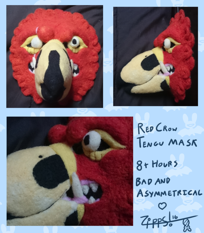 Needle Felted Tengu Mask