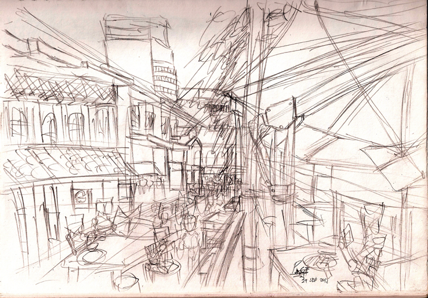 Urban Sketching - Chinatown Hawkers