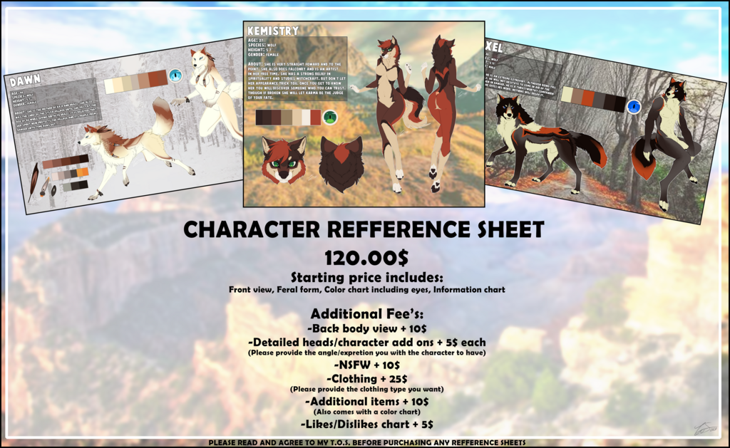 Most recent image: Commission Price List - Reff Sheets