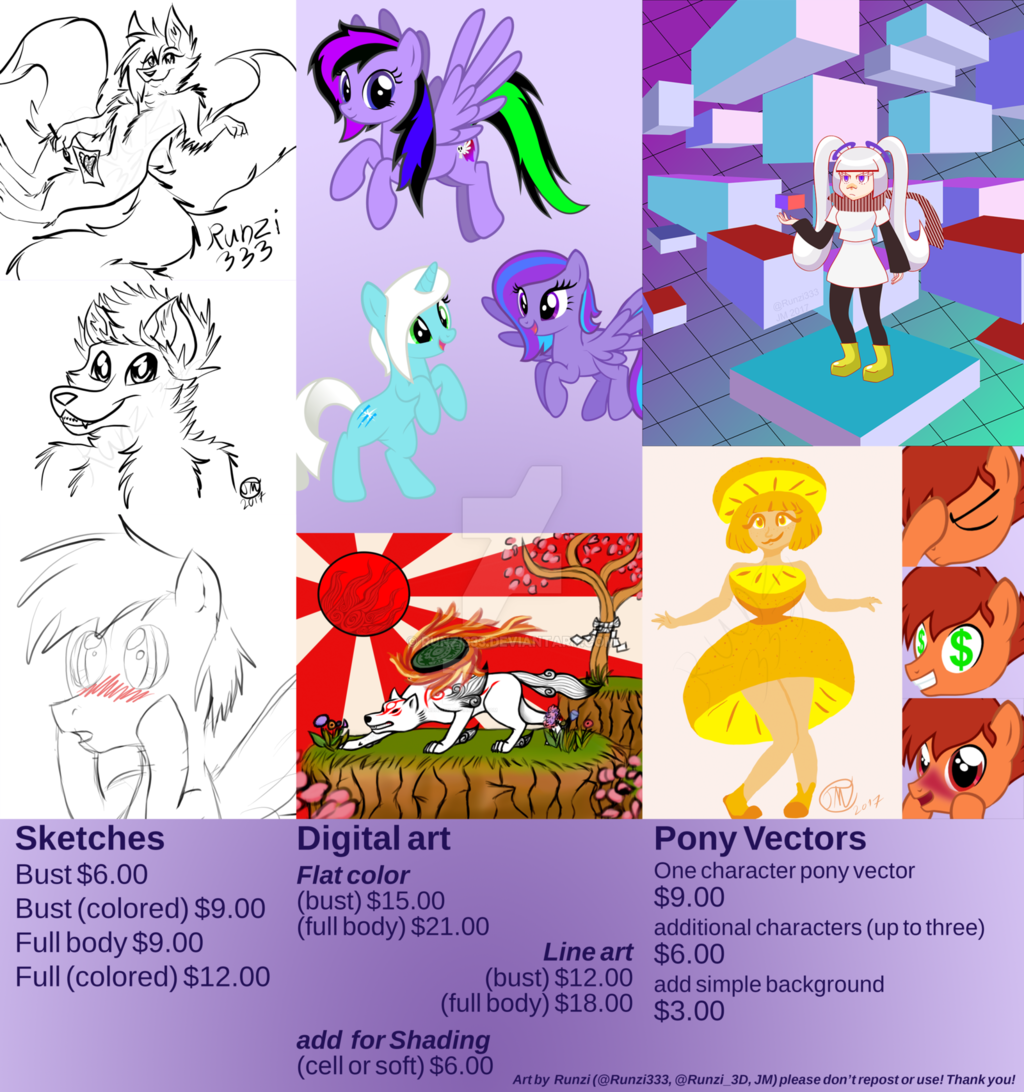 Most recent image: Updated Commission Price Sheet